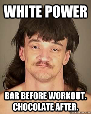 White Power Bar before workout. Chocolate after.