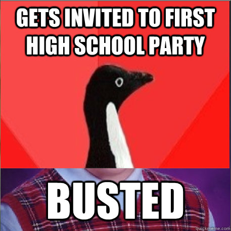 Gets invited to first high school party Busted