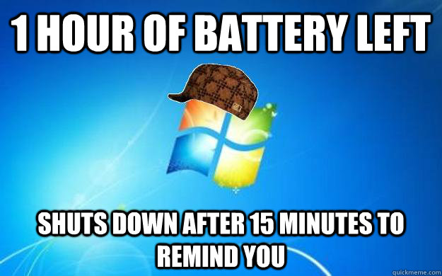 1 hour of battery left shuts down after 15 minutes to remind you - 1 hour of battery left shuts down after 15 minutes to remind you  Scumbag windows