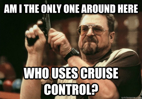 Am I the only one around here who uses cruise control? - Am I the only one around here who uses cruise control?  Am I the only one