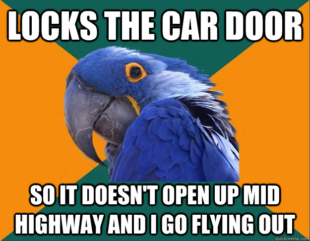 Locks the car door so it doesn't open up mid highway and i go flying out