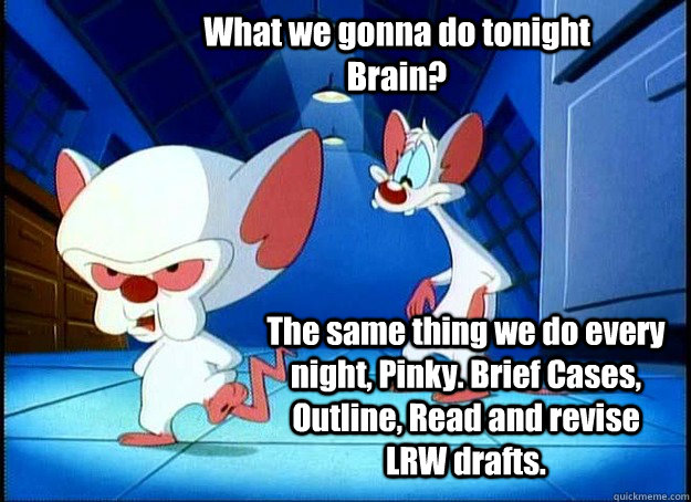 What we gonna do tonight Brain? The same thing we do every night, Pinky. Brief Cases, Outline, Read and revise LRW drafts. - What we gonna do tonight Brain? The same thing we do every night, Pinky. Brief Cases, Outline, Read and revise LRW drafts.  Pinky and the Brain