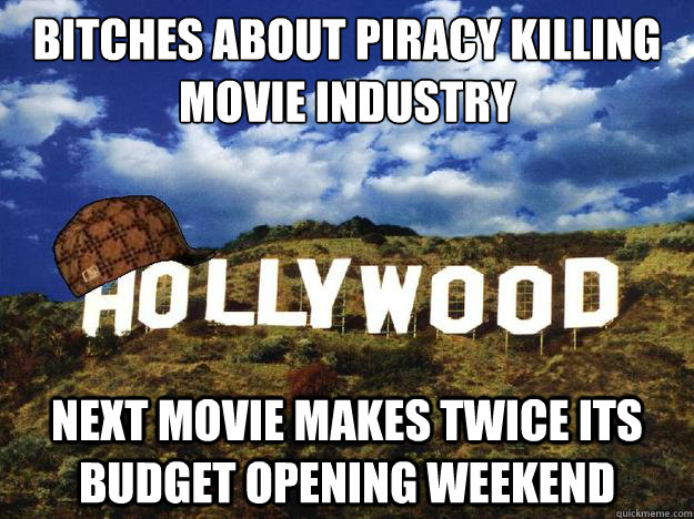 bitches about piracy killing movie industry next movie makes twice its budget opening weekend
