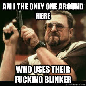 AM I THE ONLY ONE AROUND HERE who uses their fucking blinker