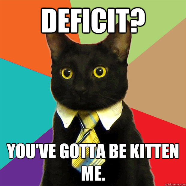 deficit? you've gotta be kitten me. - deficit? you've gotta be kitten me.  Business Cat
