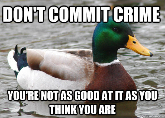 Don't commit crime You're not as good at it as you think you are - Don't commit crime You're not as good at it as you think you are  Actual Advice Mallard