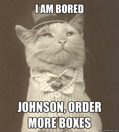 I am bored Johnson, order more boxes  Aristocat