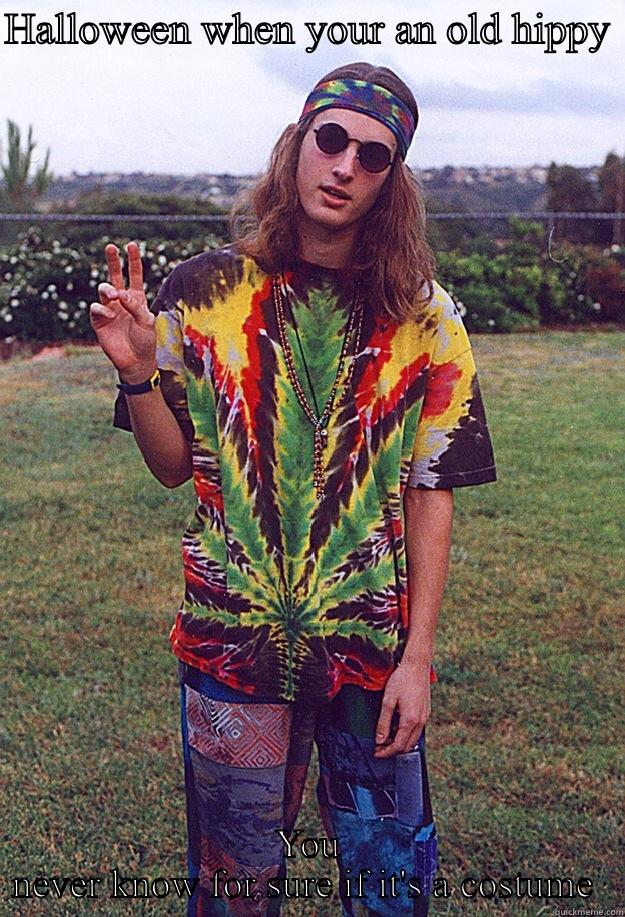 HALLOWEEN WHEN YOUR AN OLD HIPPY  YOU NEVER KNOW FOR SURE IF IT'S A COSTUME  Freshman Hippie