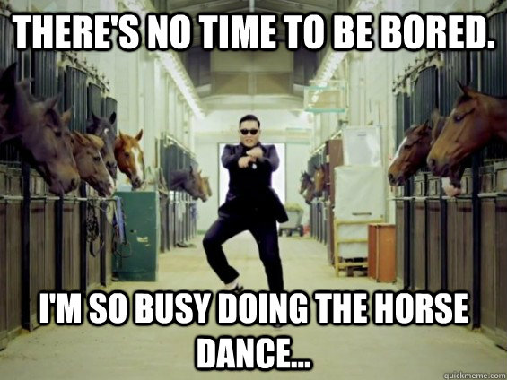 there's no time to be bored.  i'm so busy doing the horse dance... - there's no time to be bored.  i'm so busy doing the horse dance...  Misc