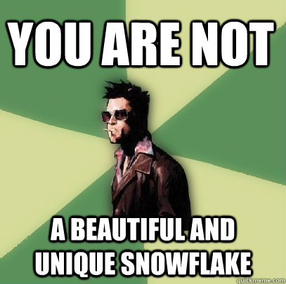 You are not A beautiful and unique Snowflake - You are not A beautiful and unique Snowflake  Helpful Tyler Durden