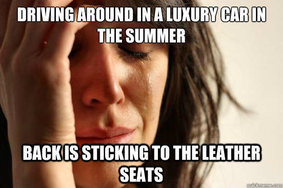 Driving around in a luxury car in the summer back is sticking to the leather seats - Driving around in a luxury car in the summer back is sticking to the leather seats  First World Problems