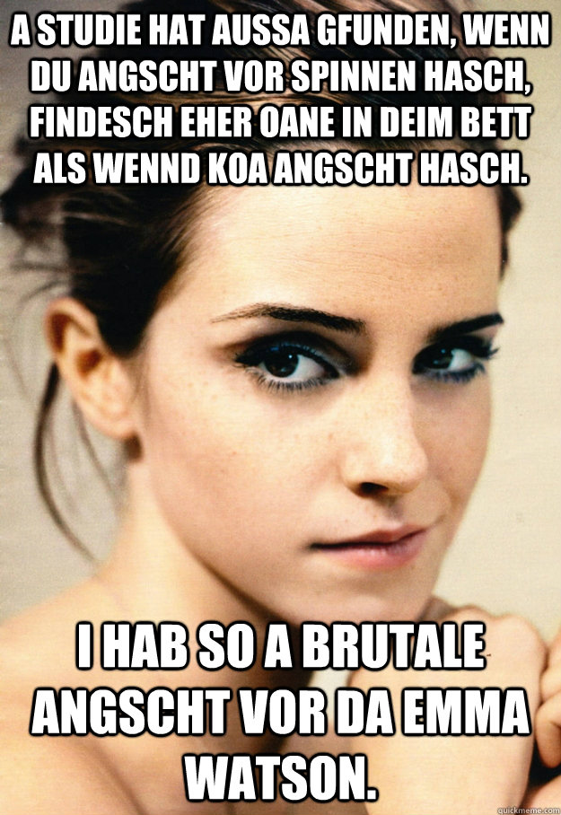 a studie hat aussa gfunden, wenn du angscht vor spinnen hasch, findesch eher oane in deim bett als wennd koa angscht hasch. i hab so a brutale angscht vor da emma watson.  What are you scared of