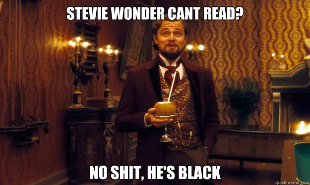 Stevie wonder cant read? No shit, he's black