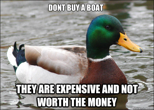 Dont buy a boat they are expensive and not worth the money - Dont buy a boat they are expensive and not worth the money  Actual Advice Mallard
