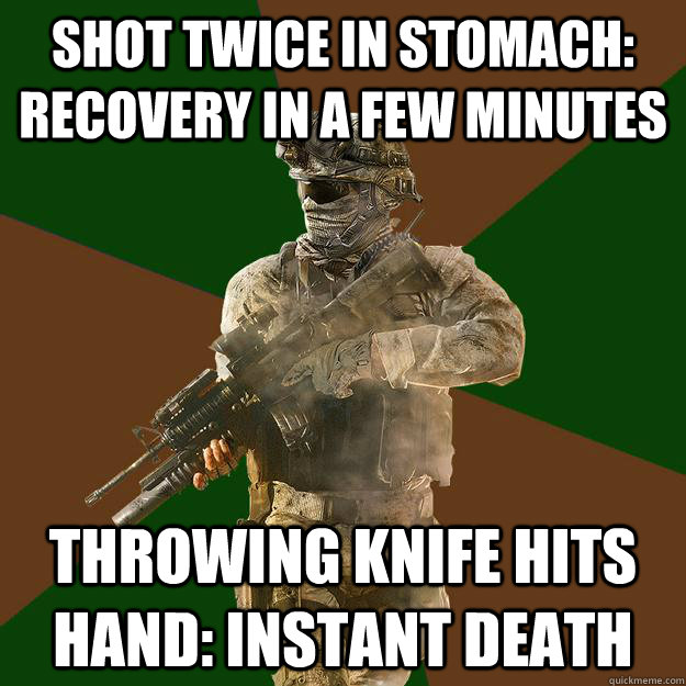 Shot twice in stomach: recovery in a few minutes throwing knife hits hand: instant death