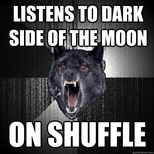 Listens to dark side of the moon on shuffle - Listens to dark side of the moon on shuffle  Insanity Wolf