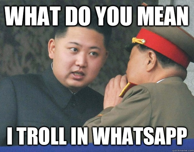 9e23f9894ac1d16a19a0709aa55f11f1e8573819f6b28fb4f8100b2c2d8be141 what do you mean i troll in whatsapp hungry kim jong un quickmeme,Whatsapp Meme