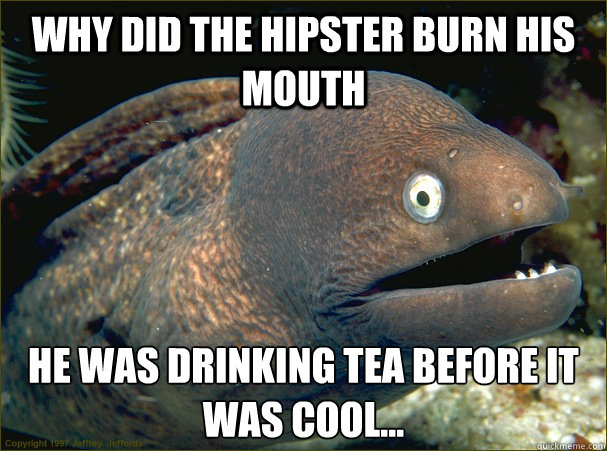 Why did the hipster burn his mouth He was drinking tea before it was cool... - Why did the hipster burn his mouth He was drinking tea before it was cool...  Bad Joke Eel