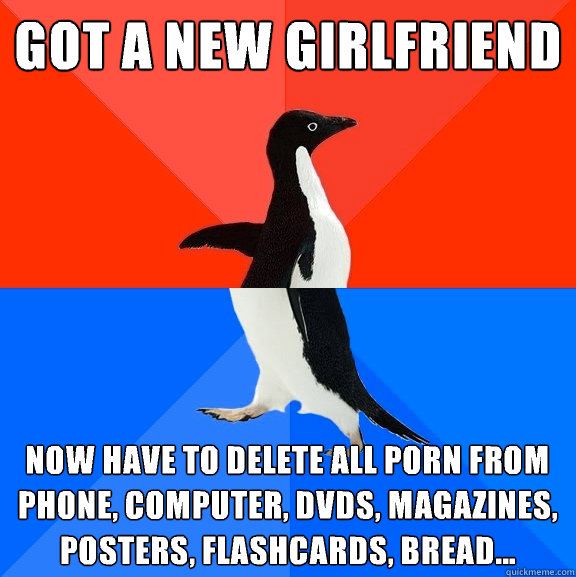 got a new girlfriend  now have to delete all porn from phone, computer, dvds, magazines, posters, flashcards, bread... - got a new girlfriend  now have to delete all porn from phone, computer, dvds, magazines, posters, flashcards, bread...  Socially Awesome Awkward Penguin