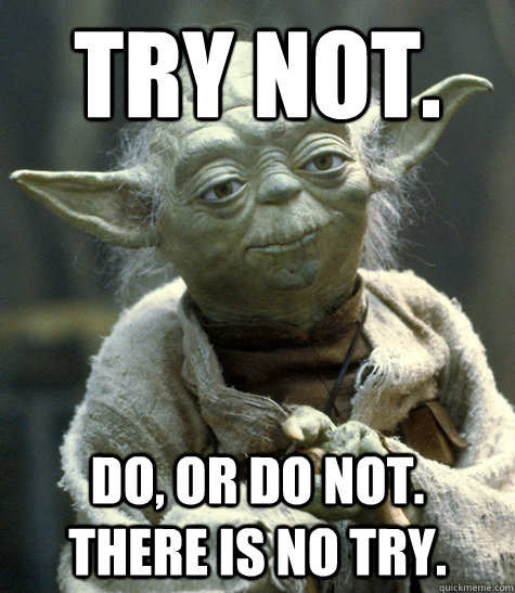 Try not. do, or do not.  there is no try.