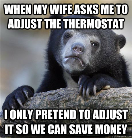 When my wife asks me to adjust the thermostat I only pretend to adjust it so we can save money - When my wife asks me to adjust the thermostat I only pretend to adjust it so we can save money  Confession Bear