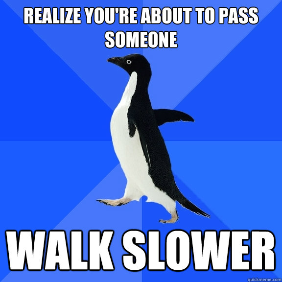 realize you're about to pass someone walk slower - realize you're about to pass someone walk slower  Socially Awkward Penguin