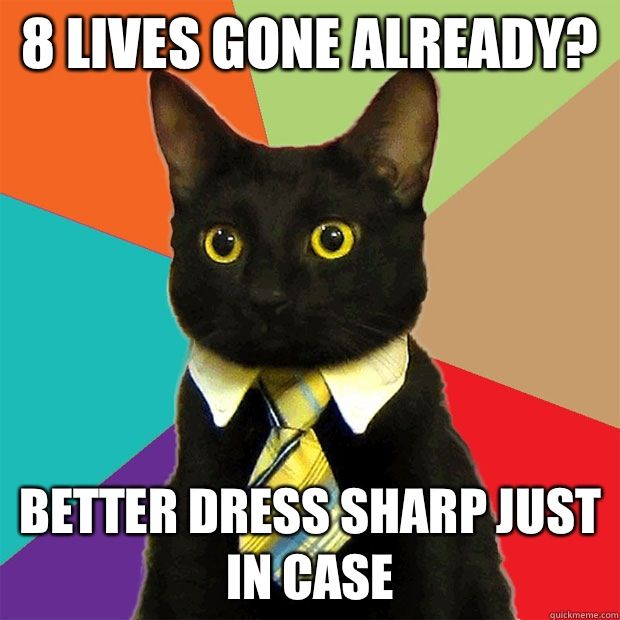 8 lives gone already? Better dress sharp just in case - 8 lives gone already? Better dress sharp just in case  Business Cat