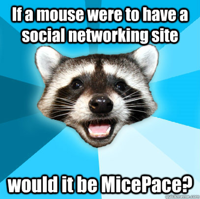If a mouse were to have a social networking site would it be MicePace? - If a mouse were to have a social networking site would it be MicePace?  Lame Pun Coon