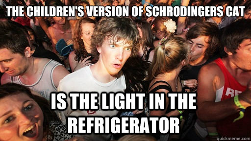 The children's version of schrodingers cat is the light in the refrigerator - The children's version of schrodingers cat is the light in the refrigerator  Sudden Clarity Clarence