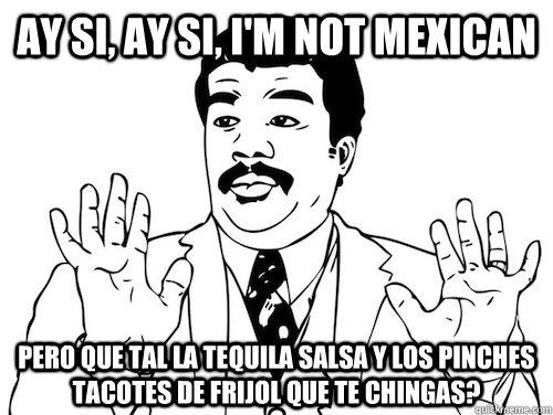 AY SI, AY SI, I'm not mexican pero que tal la tequila salsa y los pinches tacotes de frijol que te chingas?   AY SI AY SI
