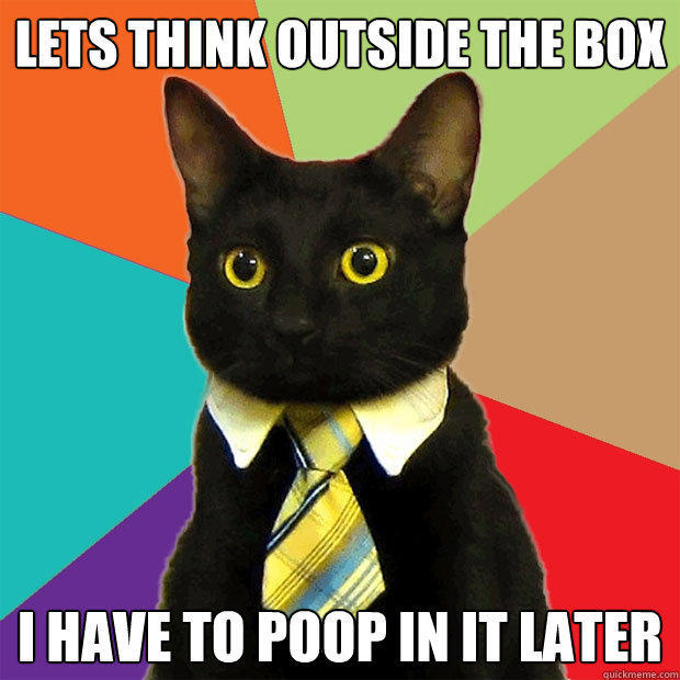 Lets think outside the box I have to poop in it later  Business Cat