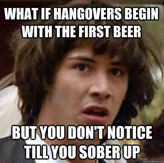 What if hangovers begin with the first beer but you don't notice till you sober up - What if hangovers begin with the first beer but you don't notice till you sober up  conspiracy keanu