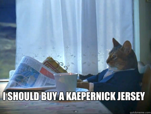 I should buy a kaepernick jersey -  I should buy a kaepernick jersey  The One Percent Cat
