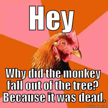 he kills in Peoria - HEY WHY DID THE MONKEY FALL OUT OF THE TREE?  BECAUSE IT WAS DEAD. Anti-Joke Chicken