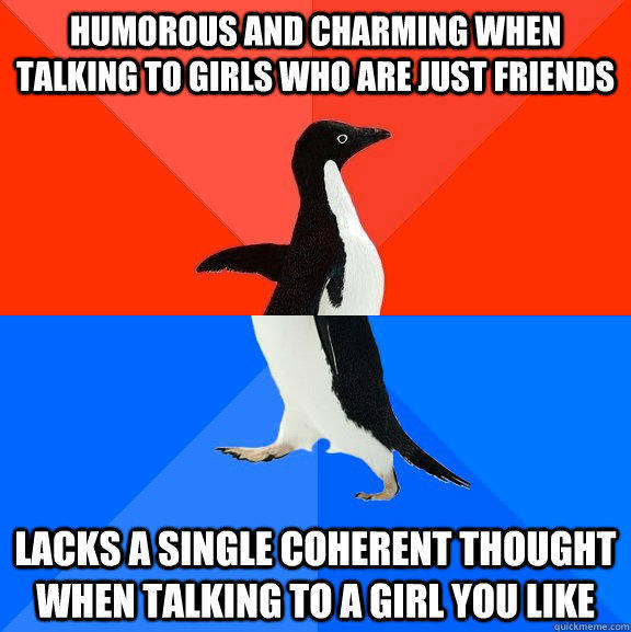 Humorous and charming when talking to girls who are just friends Lacks a single coherent thought when talking to a girl you like - Humorous and charming when talking to girls who are just friends Lacks a single coherent thought when talking to a girl you like  Socially Awesome Awkward Penguin