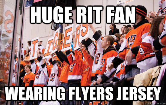huge rit fan wearing flyers jersey  RIT Corner Crew