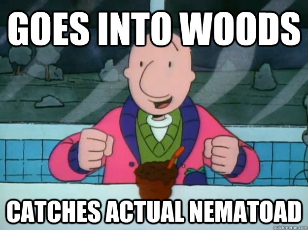 Goes into woods Catches actual Nematoad