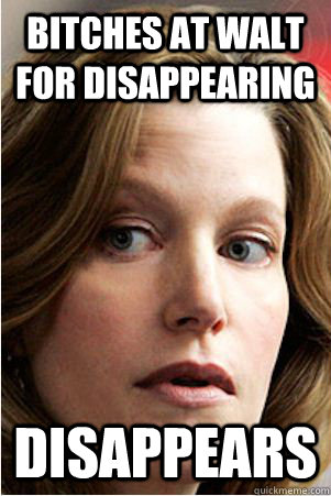 Bitches at Walt for Disappearing Disappears  Hypocrite Skyler White