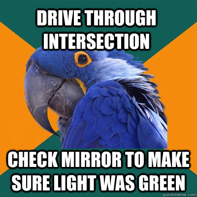 drive through intersection check mirror to make sure light was green - drive through intersection check mirror to make sure light was green  Paranoid Parrot