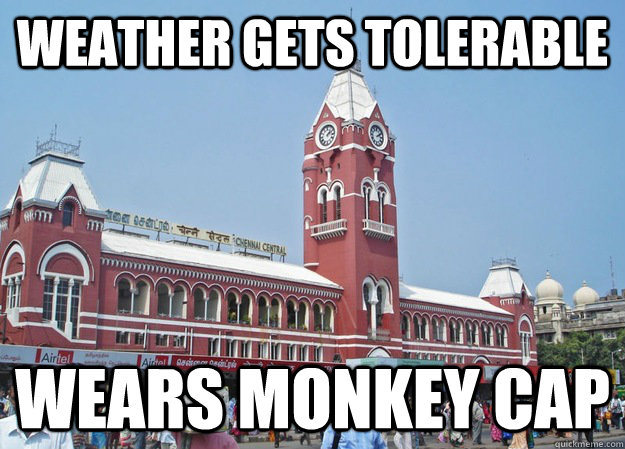 Weather gets tolerable wears monkey cap