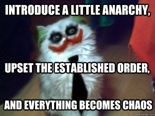 Introduce a little anarchy, upset the established order, and everything becomes chaos - Introduce a little anarchy, upset the established order, and everything becomes chaos  Anarchy Cat