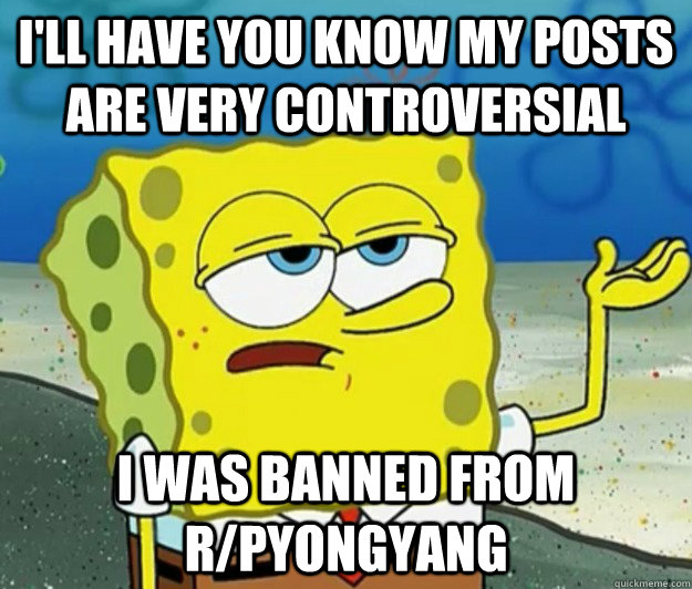 I'll have you know My posts are very controversial I was banned from r/pyongyang - I'll have you know My posts are very controversial I was banned from r/pyongyang  Tough Spongebob