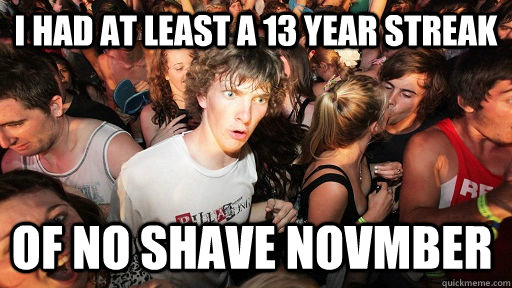 I had at least a 13 year streak of no shave Novmber - I had at least a 13 year streak of no shave Novmber  Sudden Clarity Clarence