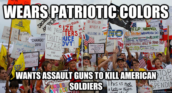 wears patriotic colors wants assault guns to kill american soldiers