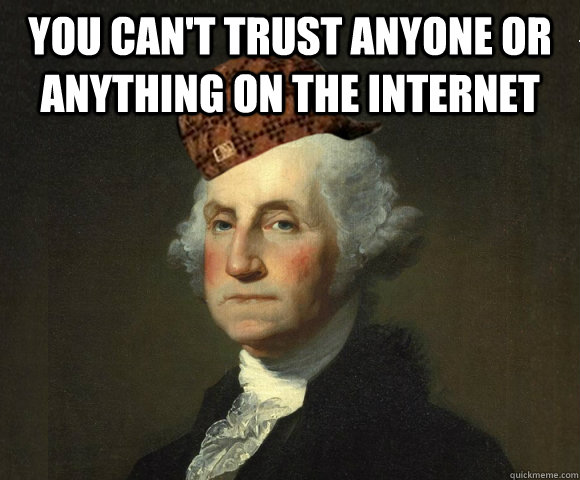 you can't trust anyone or anything on the internet