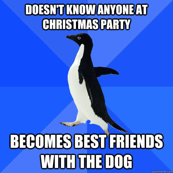 Doesn't know anyone at Christmas party Becomes best friends with the dog - Doesn't know anyone at Christmas party Becomes best friends with the dog  Socially Awkward Penguin