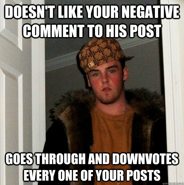 Doesn't like your negative comment to his post Goes through and downvotes every one of your posts - Doesn't like your negative comment to his post Goes through and downvotes every one of your posts  Scumbag Steve