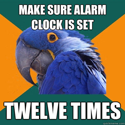 Make sure alarm clock is set twelve times - Make sure alarm clock is set twelve times  Paranoid Parrot