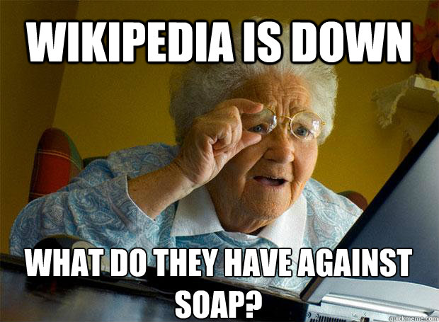 WIKIPEDIA IS DOWN WHAT DO THEY HAVE AGAINST SOAP?    Grandma finds the Internet