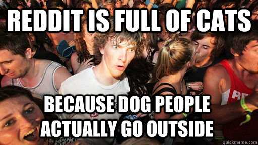 reddit is full of cats because dog people actually go outside - reddit is full of cats because dog people actually go outside  Sudden Clarity Clarence